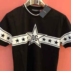 Dolce&Gabbana Men White Printed Black T-Shirt